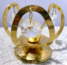 GOLD PLATED~TAPER~CANDLE HOLDER WITH CRYSTALS