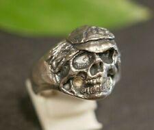 Massiver 925 Sterling Silber Ring Groß Totenkopf Skull Pirat Schädel Haare