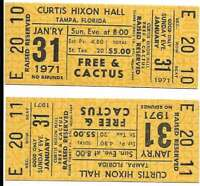 Free & Cactus Concert Ticket Set of 2 1971 Tampa Yellow
