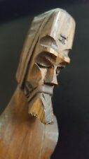 Collectible Wood Wooden Carved European Soldier Statue with Shield