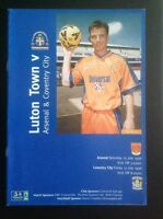 Friendly Programme Luton Town v Arsenal 25/07/98 & Coventry City 31/07/98