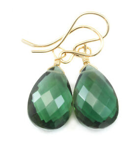 Green Sim Tourmaline Earrings Faceted Pear Teardrops Drops Sterling 14k Gold