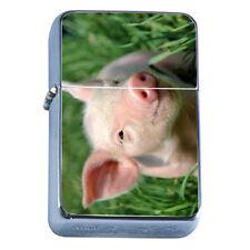Windproof Refillable Flip Top Oil Lighter Pig D3 Piglet Barnyard Animal Cute