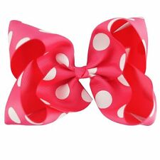 5inch polka dot Boutique Bows Girls' Hair Clip(Fuchsia)