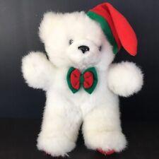 "Sasco White Bear Plush 10"" Christmas Hat and Bow Tie Stuffed Animal Toy"