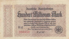 100 MILLIONEN MARK VERY FINE BANKNOTE FROM GERMANY/REICHSBAHN 1923