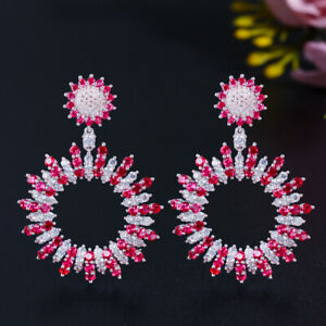 Hot CZ Round Tennis Flower Dangle Drop Earring for Brides 925 Silver Ear Jewelry