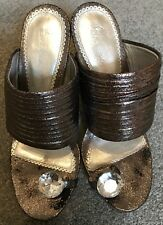 Pewter Sandals with diamante toe post - Sz 38 UK 5 with box-BOURNE (Retail £90)