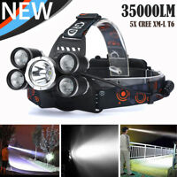 35000 LM 5X XM-L T6 LED Rechargeable Headlamp Headlight Travel Head Torch