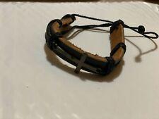 Bracelet Unisex Adjustable BROWN Leather Cross BRACELET NEW