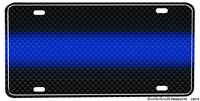 Law Enforcement Thin Blue Line Carbon Fiber Design Aluminum License Plate