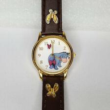 Disney Eeyore Wristwatch Women Goldtone Bow Tail Rotates Butterflies Brown Band