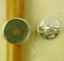 Solid Sterling Silver Adjustable Ring Finding 20MM Round Cabochon Bezel Setting