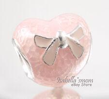 PINK BOW & LACE HEART Genuine PANDORA Silver/Enamel VALENTINE~LOVE Charm NEW