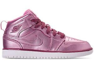 Nike Girl's Air Jordan 1 Mid Pink Sz 5.5y AV5174-640 Basketball Shoes