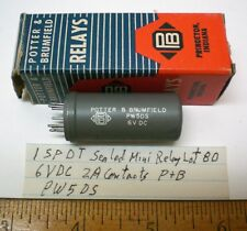 1 Mini Sealed Relay SPDT, 6V DC, 2A Contacts P&B #PW5DS, Lot 80, Made in USA