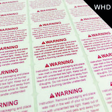 65 New Design Wax Melt Safety Warning Labels Stickers Red Instructions on A4