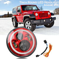 """Red 7"""" Round LED Headlight Halo Angle Eye DRL For Jeep Wrangler Land Rover"""