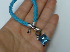 Jette Designer Nylon Bracelet W/ Sterling Silver Findings & Blue Crystal