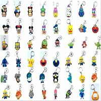 60 Styles New Disney Mickey Minnie Mike Sullivan Stitch Pikachu Keyring Keychain