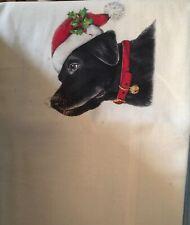 White Christmas  Black Lab Flour Sack Dish Tea Towel - Mary Lake Thompson