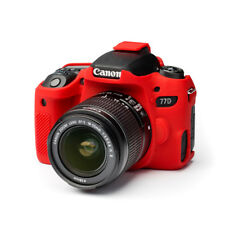 Camera silicone cover for Canon  EOS 77D  Red + Screen protector