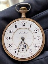 ANTIQUE HAMILTON POCKET Watch Grade 974 Model 1 16s 17J Serviced Breguet Hairspr