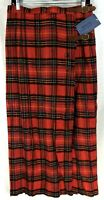 "New Vintage Kilt Board Wrap Maxi Skirt Size 12 Red Tartan Plaid Wool 37.75"" Long"