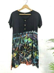 GRINGO Tie- Dye Rainbow Print Loose Fit Tunic Dress Boho  Bust 38 Size 10 12