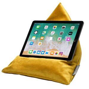 iPad Tablet Phone Bean Bag Cushion Pillow Stand Luxurious Shimmer Velvet Mustard