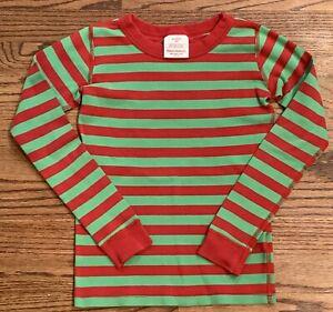 Hanna Anderson Christmas Pajama Top Green Red Stripe Cotton Kids 130 cm US Sz 8