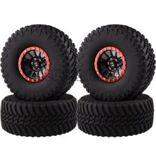 "BLACK-RED Aluminum 2.2"" Beadlock Wheels & Super Swamper TIRES FOR 1/10 Crawler"