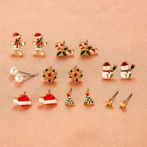 8pcs Christmas Earrings  Santa Claus Snowman  For Women Jewelry Accessories*