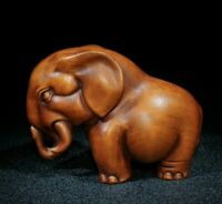Collect Japanese boxwood carved elephant auspicious statue Netsuke figurines