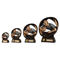 Rugby Trophies Resin Rugby Player & Ball Trophy Award 5 sizes FREE Engraving
