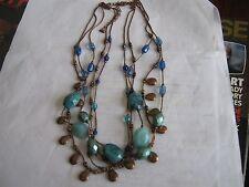 "Necklase , Vintage , Multi Strand (5) ,Blue ,Copper , Bead , 18"" , Unique Design"