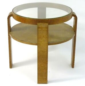 Alva Alto Style Circular Two Tier Occasional Table with glazed Top