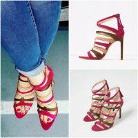 GREAT ZARA HIGH HEEL SANDALS WITH COLOURFUL STRAPS SIZE UK 3 EU 36 USA 6