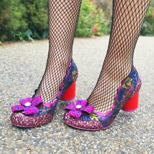 Irregular Choice 'Queenie' (B) Black / Fuchsia Mid Heel Floral Bow Shoes