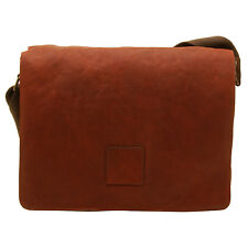 Ashwood - Cognac Pedro Laptop Compatible Messenger Bag in Cow Oily Leather