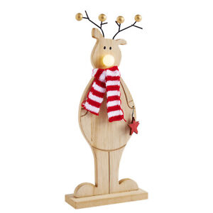 Standing reindeer with LED nose wooden Christmas decoration
