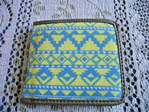 Aztec Blue & Yellow Canvas with Brown Faux Leather Folding Wallet w/ Coin Purse