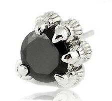 Ohrstecker Ohrring Klaue Tatze Drache Kristall schwarz Sterling Silber 925