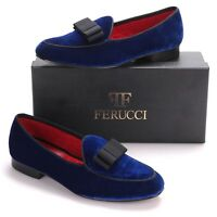 Men FERUCCI Blue Velvet Slippers Loafers Flat With Black Bow