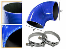 """BLUE Silicone 90 Degree Elbow Coupler Hose 3"""" 76 mm + T-Bolt Clamps JP"""