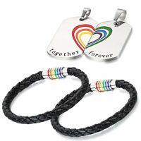 4pcs Halskette Armband Set Regenbogen LGBT Lesben Gay Match Herz Hund Tag Paar