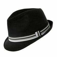 ba872e04870 Black Cotton Trilby Hat 5 Sizes With Striped Band Sent Boxed