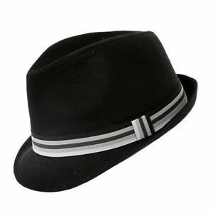 Black Cotton Trilby Hat 5 Sizes With Striped Band Jazz Band Wedding Sent Boxed