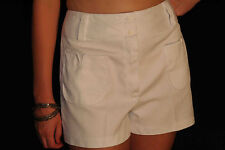 M~L Vtg 70s Unworn Hip Hugger White Patch Pocket Boho Denim Jean Shorts