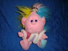 """Cousin Princess Hobnobbin Pink Troll Plush Playskool 10"""" tall wintage 80's"""